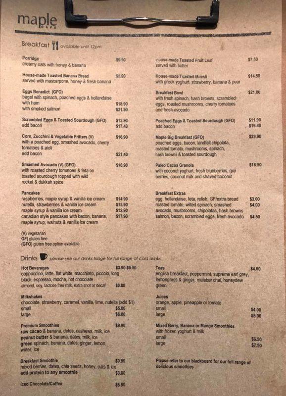 Maple Cafe Menu Launceston