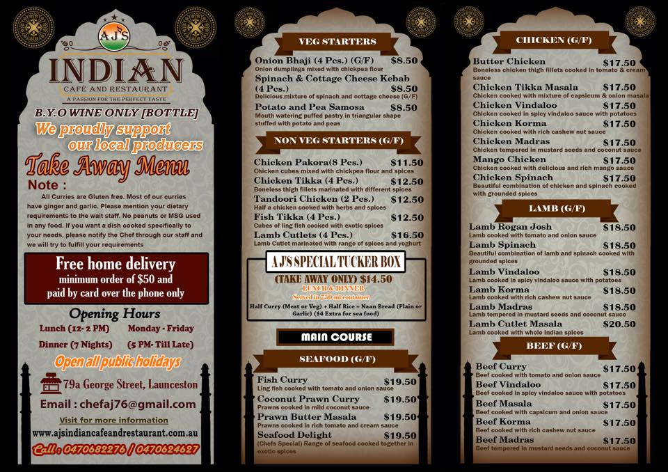 Aj Indian Restaurant Launceston
