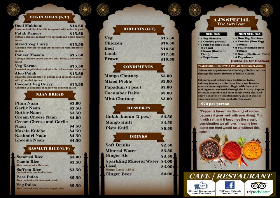 Cafe India Buffet Menu