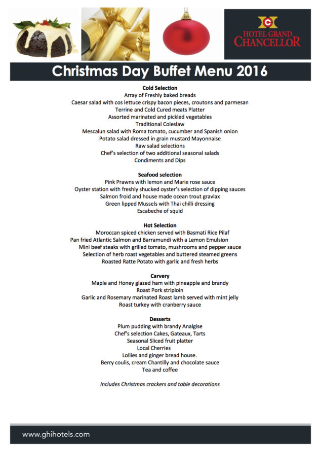 grand chancellor 2016 christmas day lunch buffet - When Is Christmas Day 2016