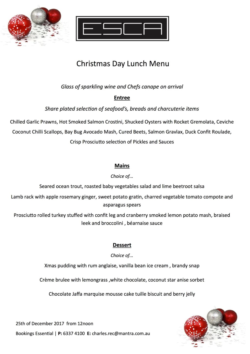 CHRISTMAS DAY 2017 > Heads Up Food Guide