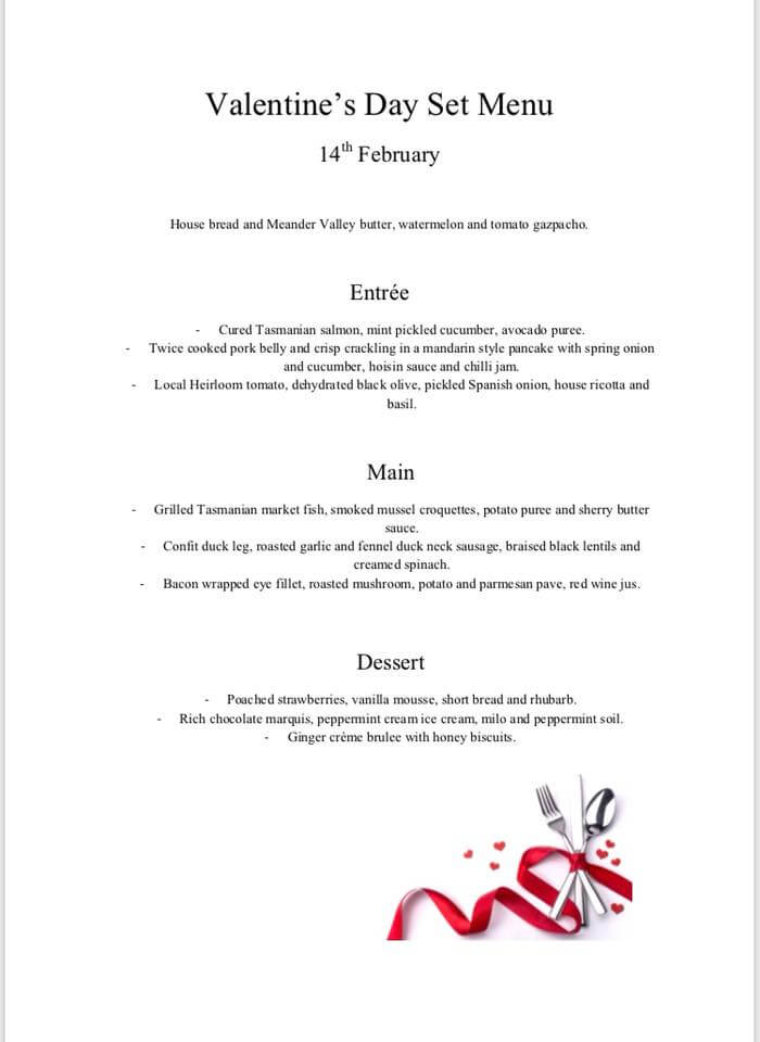 Valentine S Day 2018 Launceston Heads Up Food Guide