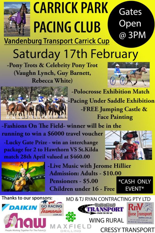 Carrick Park Pacing Cup - 18 February 2018